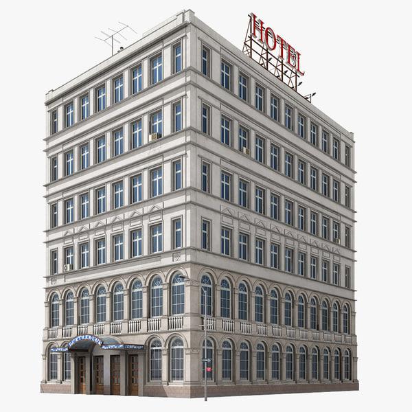 hotel building new york 3d model