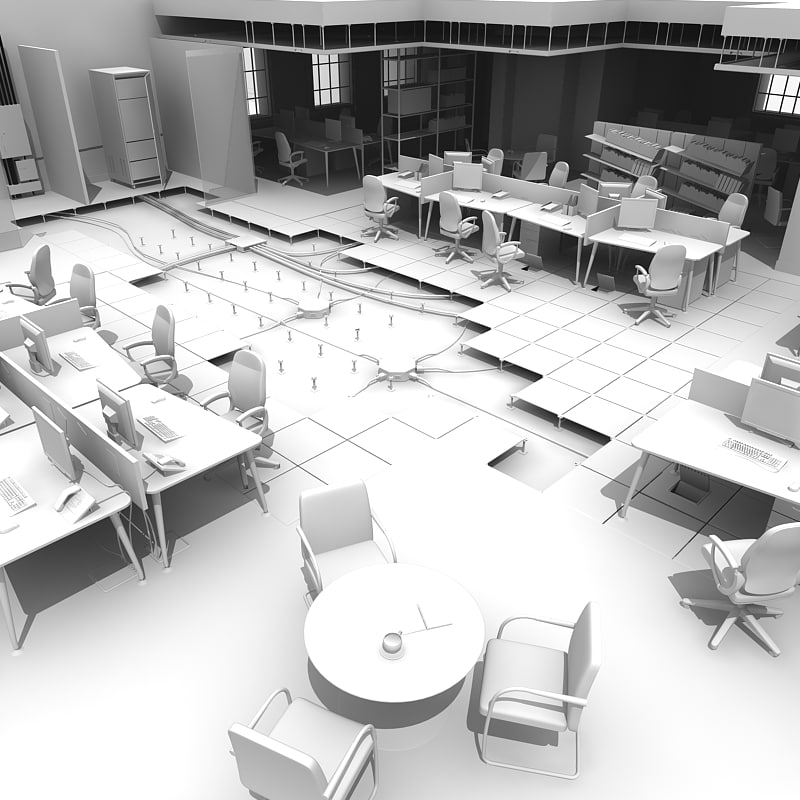 3d office raised floor model