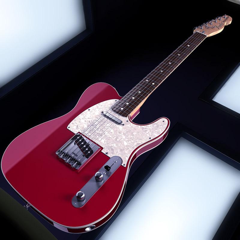 3d model fender telecaster deluxe guitar