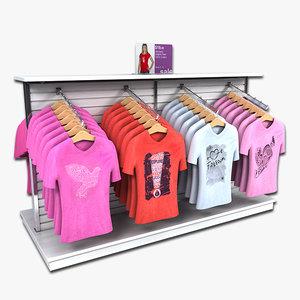 3d model display women t-shirts