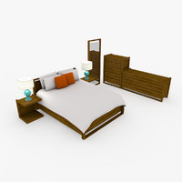 3d c4d modern bedroom set design