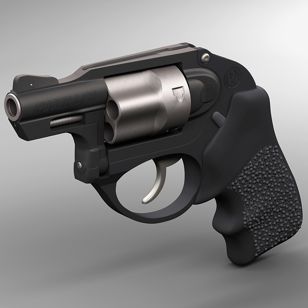 realistic revolver ruger lcr 3d model
