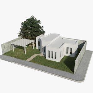 3d house grass tree