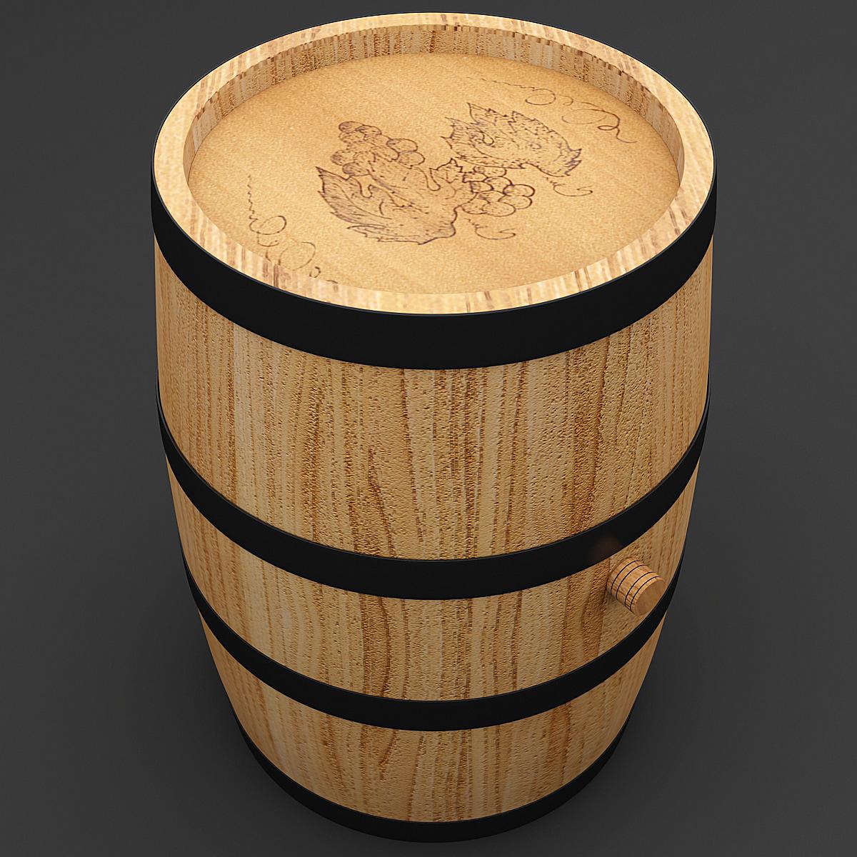 3d model wine barrel 5