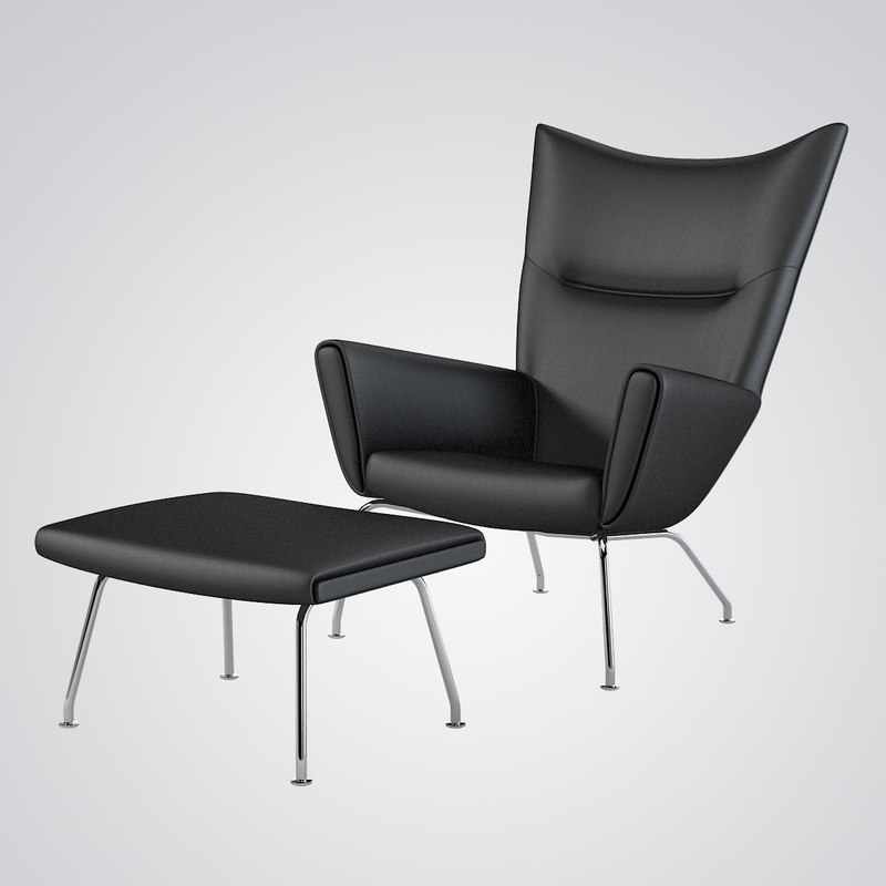 wing chair ottoman hans j 3d model