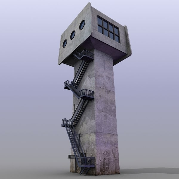 3d model river traffic control tower