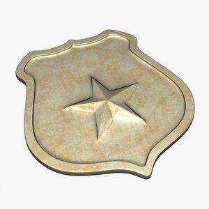 3d c4d golden sheriff badge