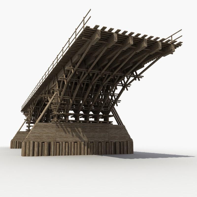 3d model wood bridge