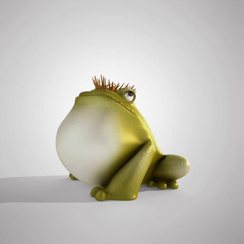 king frog cartoon 3d model