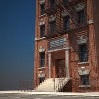 3d old building 07 model