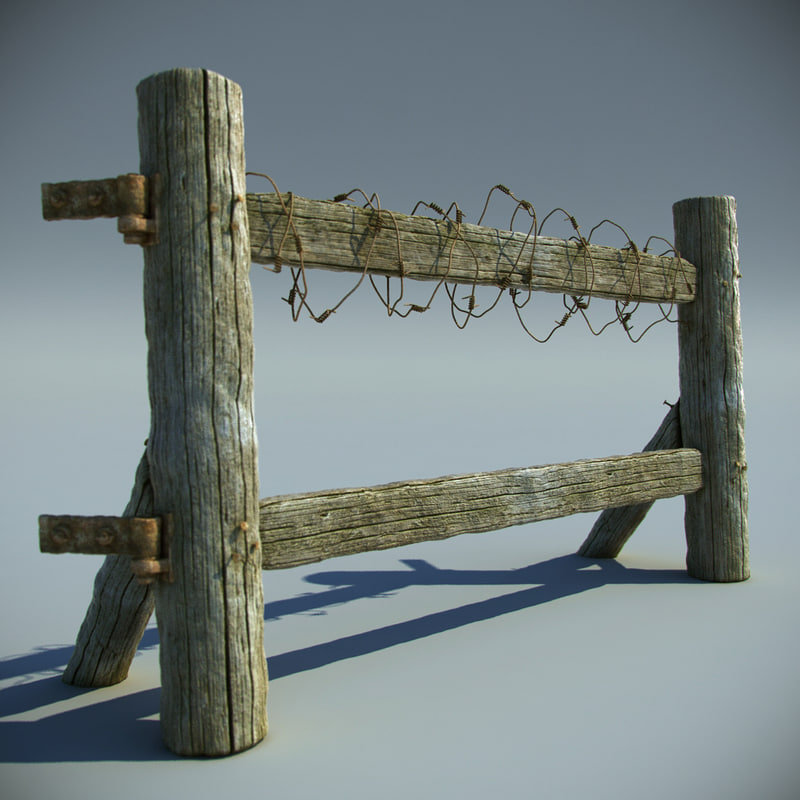 3d max wooden field fence