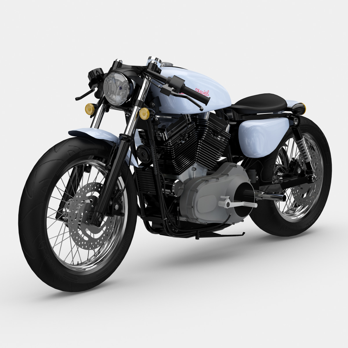 3d custom chopper motorcycle