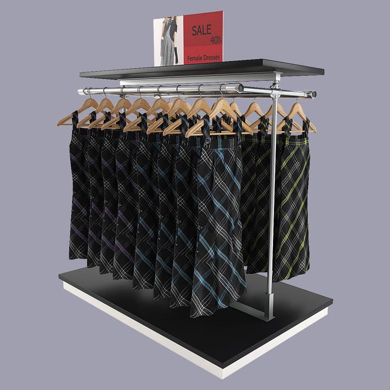 3d model female dresses rack
