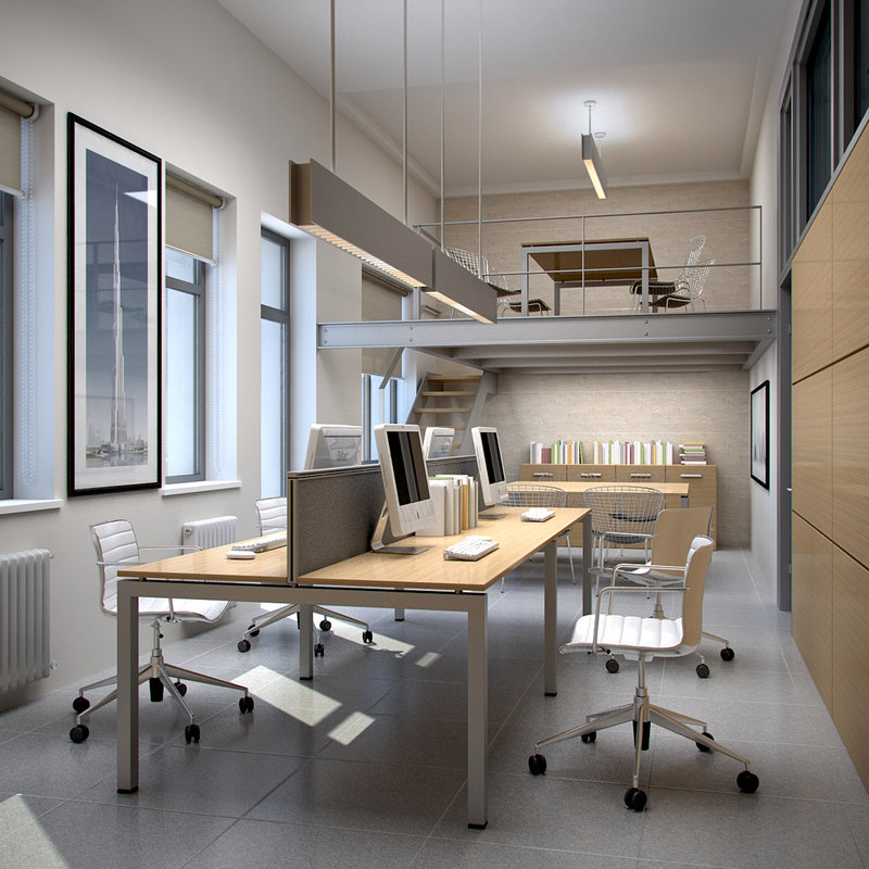 Interior scene office 3d max for Office design 3d