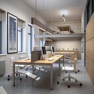interior scene office 3d max