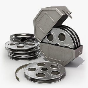3d model film reel canister cameras