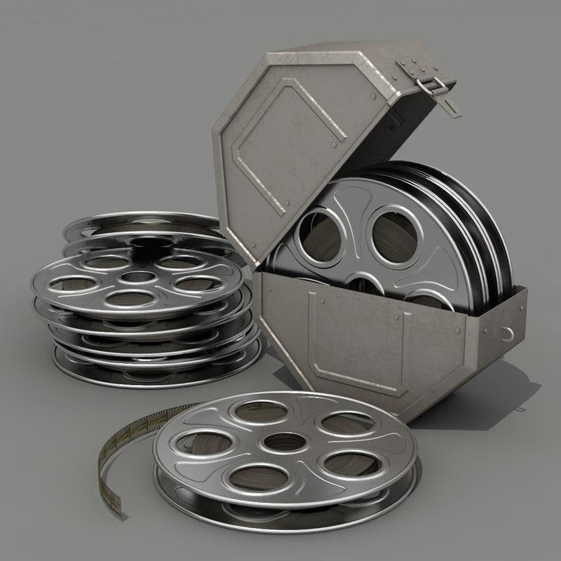 3d model film reel canister cameras