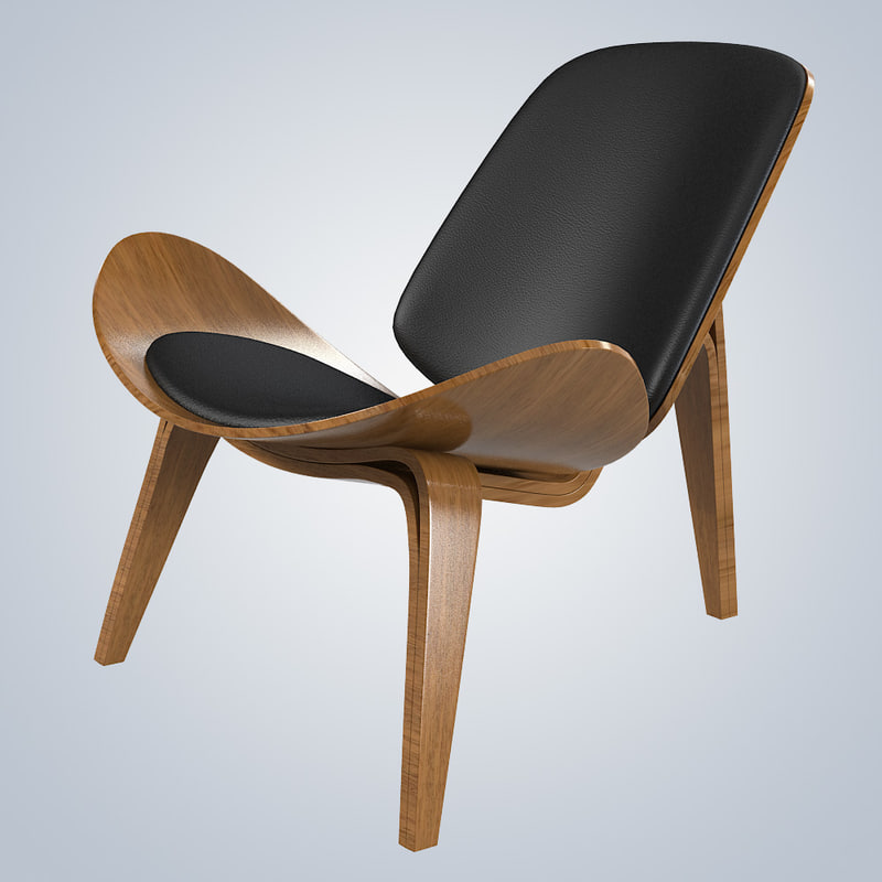 3d model shell wing chair