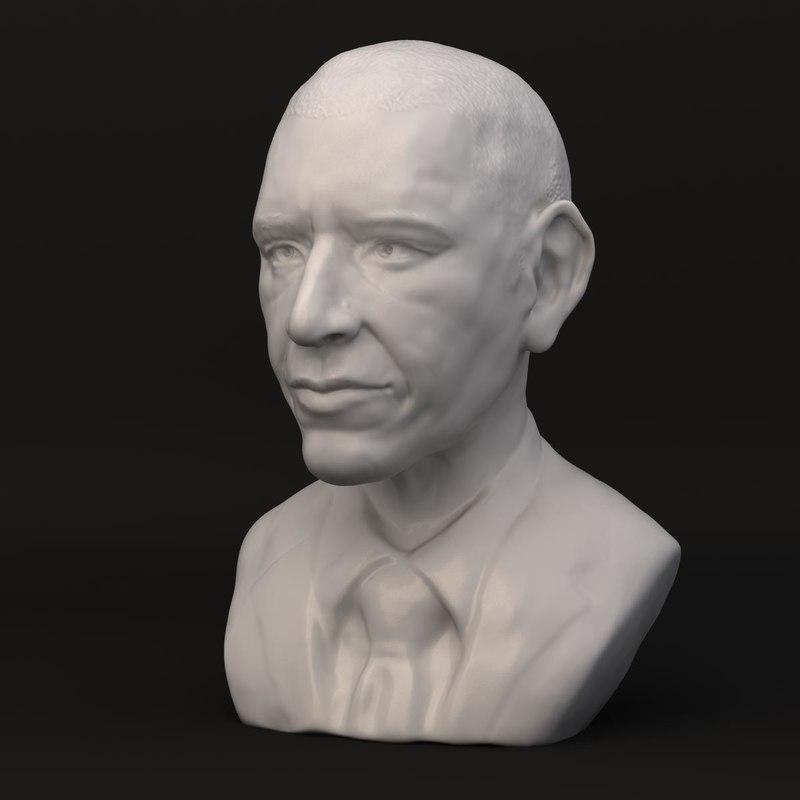 decorative bust barack obama 3d model