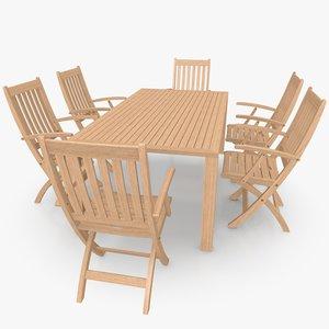 3d model foldable patio furniture set