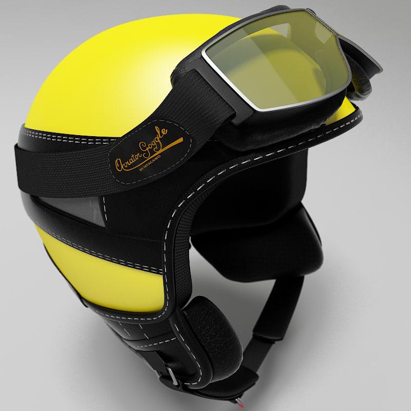 3d hugo helmet goggles model