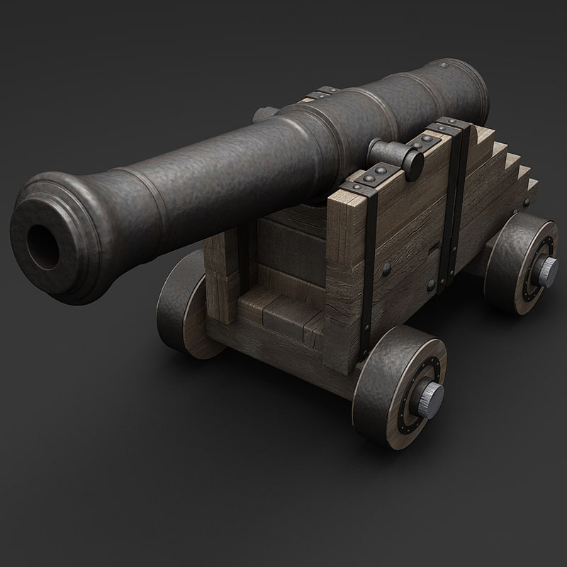 3d old ship cannon