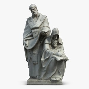 saints cyril methodius statuette 3d model
