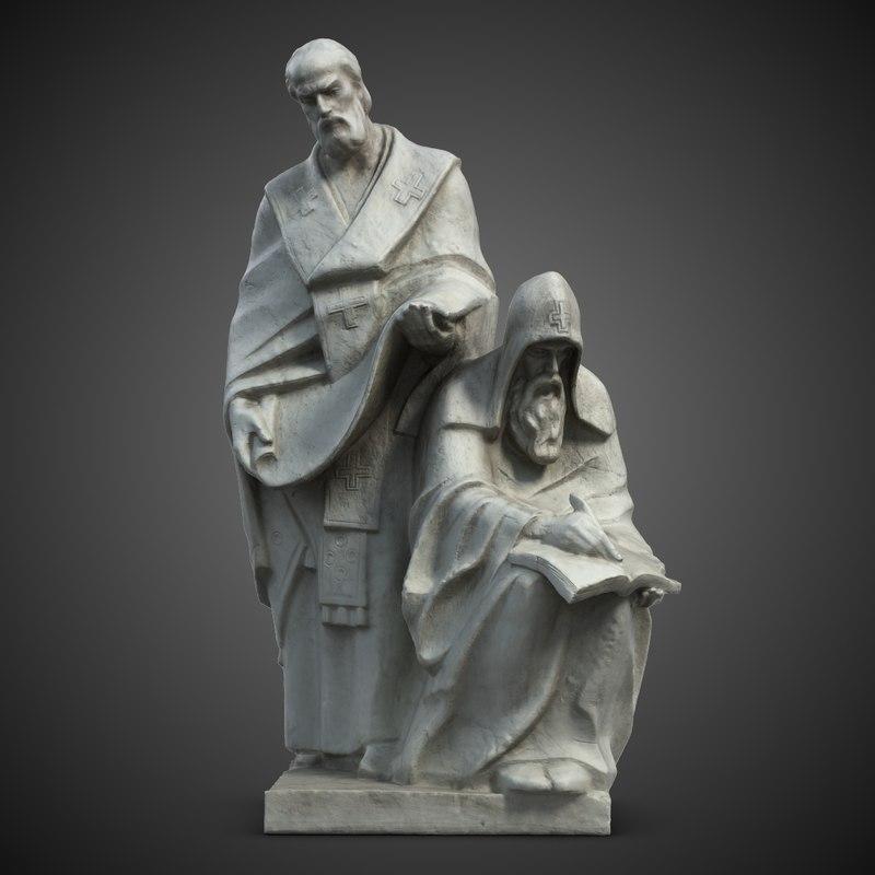 saints cyril methodius statuette 3d model