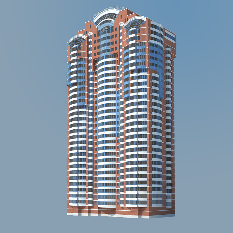 3ds max residental building red