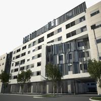 3d model apartment house exterior scene