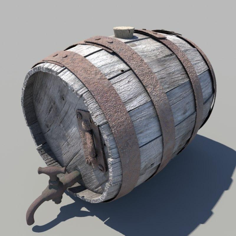 keg barrel wood fbx