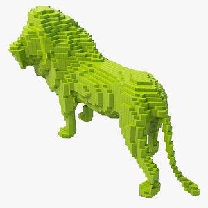 pixel lion obj