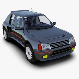 peugeot 205 16 3d model