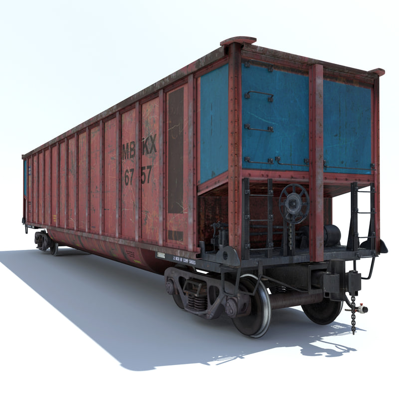 railway coal car cargo train 3d model