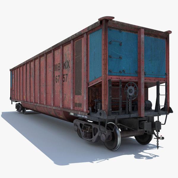 railway coal car cargo train 3d model