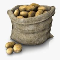 sack potatoes 3d c4d