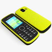 3d model yellow nokia 110 cellphone