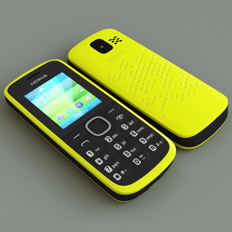 3d model yellow nokia 110 cellphone
