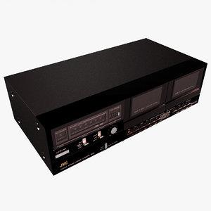 3d model jvc double cassette stereo