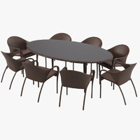 Dedon Tango Wicker Outdoor Rattan Dining Table and Chair Set