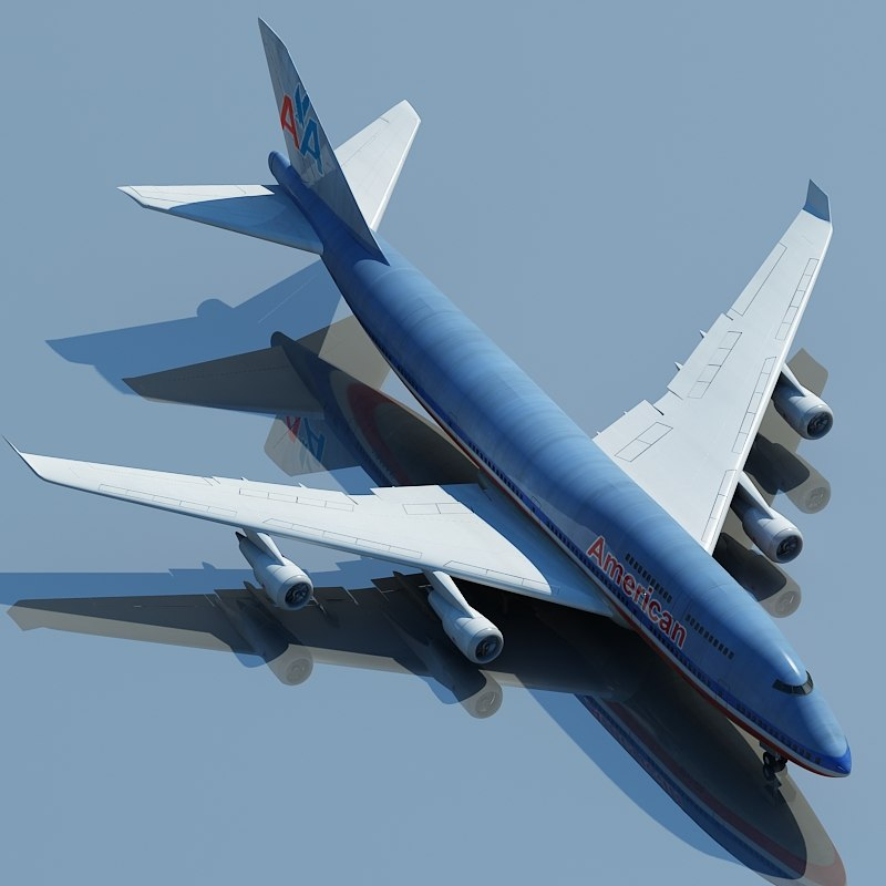 boeing 747 american airlines 3d max