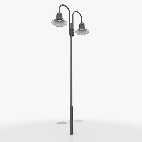 3d model double pole luminaire light