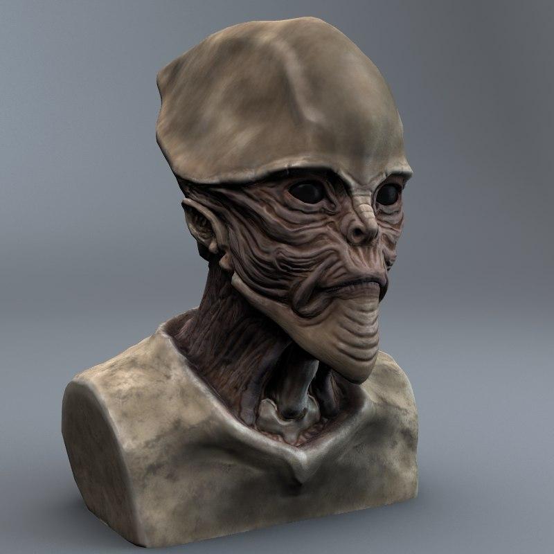 3d alien bust model