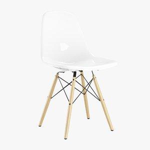 3d max eames plastic chair wood