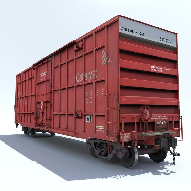 railway cargo car train 3d model