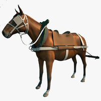 harnessed horse 3d model