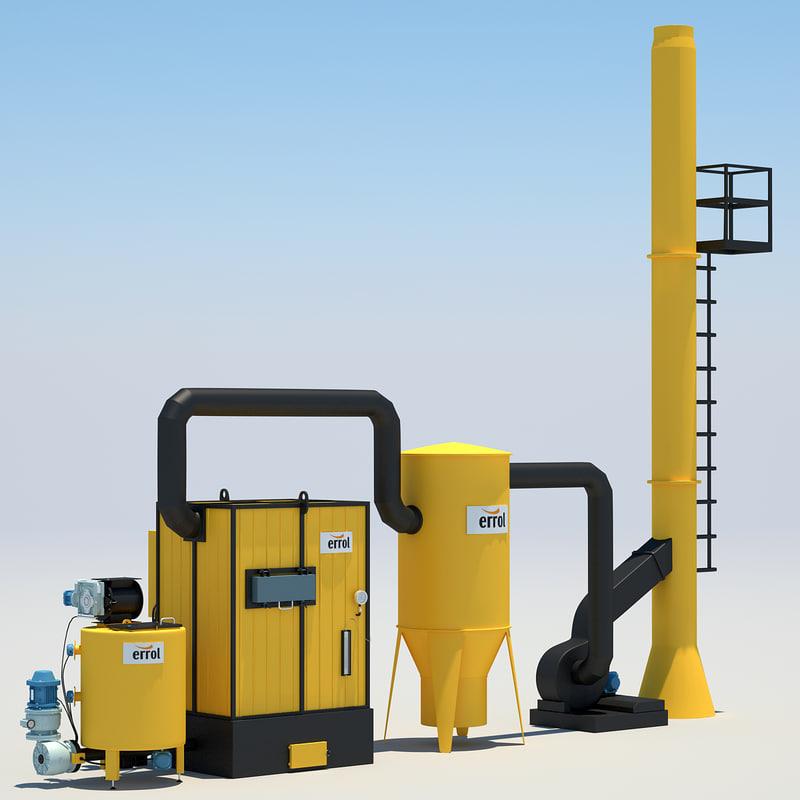 industrial water heating 3d model