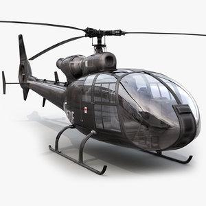 3d aerospatiale sa gazelle helicopter