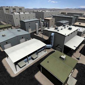 3d industrial warehouse park plant model