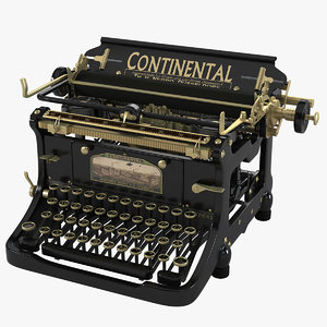 continental vintage typewriter 3d model